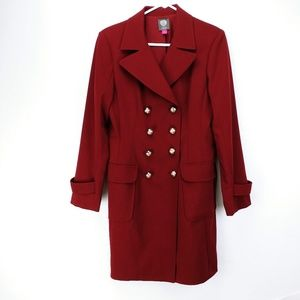 Maroon double-breasted Vince Camuto coat